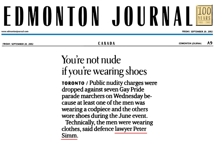 Edmonton Journal 2002-09-20 - Simm convinces Crown to drop nudity charges against Pride marchers